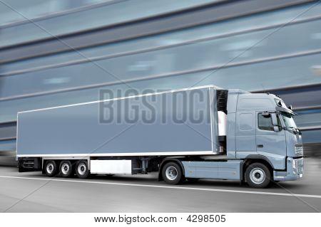 Blue Semi Truck In The Street
