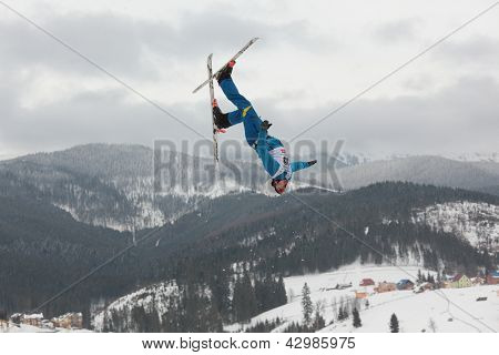 BUKOVEL, UKRAINE - FEBRUARY 23: Mykola Puzderko, Ukraine performs aerial skiing during Freestyle Ski World Cup in Bukovel, Ukraine on February 23, 2013
