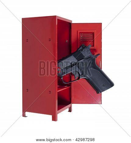 Handgun In A Red Locker