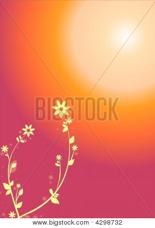 Sunset With  Floral Pattern