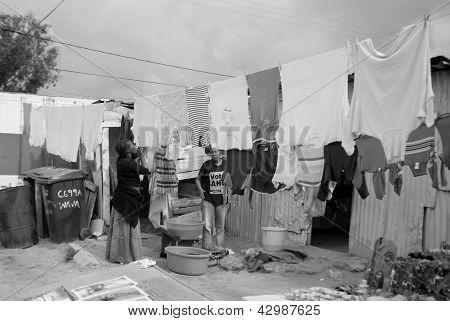Women wash their clothes