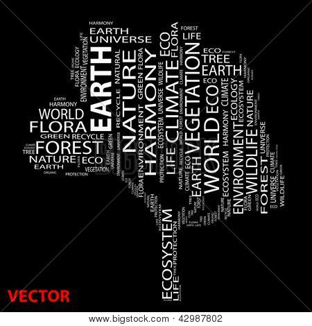 Vector Conceptual white tree made of text as wordcloud isolated on black background
