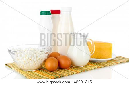 Dairy products and eggs on napkin isolated on white