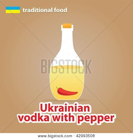 Ukrainian vodka with pepper - traditional drink in Ukraine. vector