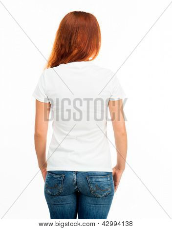 Girl in white t-shirt over white (back)