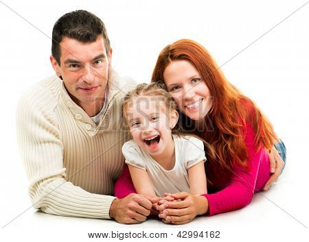 Smilimg happy family on the white background