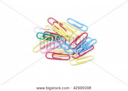 Colorful paper clips - good office background
