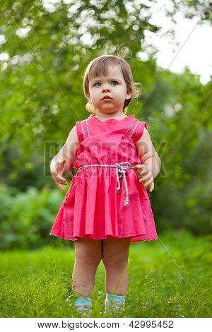 cute little girl stading on meadow