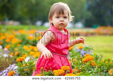 little girl in orange flowers