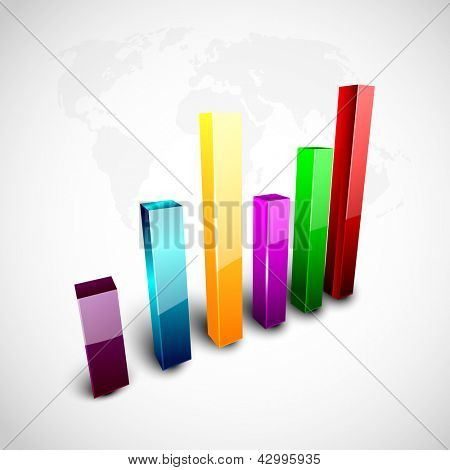 Abstract 3D statistics, business profit and loss background. EPS 10.