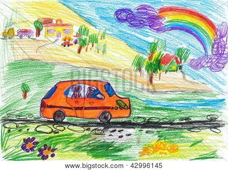 dog travel on auto. child's drawing