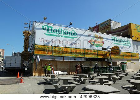 The Nathan's rebuilding after damage by Hurricane Sandy on March 5, 2013 at Coney Island.