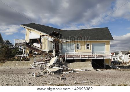Destroyed beach house in the aftermath of Hurricane Sandy