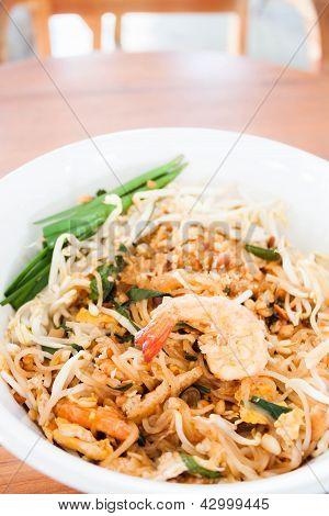 Stir Fried Noodle With Shrimp In Thai Restuarant