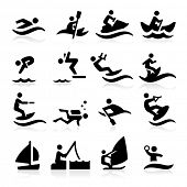 stock photo of kites  - Water Sport Icons - JPG