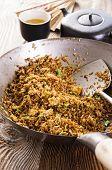 picture of nasi  - nasi goreng in wok - JPG
