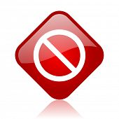 access denied red square glossy web icon