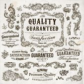 stock photo of vintage antique book  - Vector set of calligraphic design elements - JPG