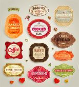 stock photo of cherries  - Set of retro bakery and coffee labels - JPG