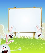 stock photo of cony  - Illustration of cartoon happy cute easter rabbits jumping in the grass inside spring landscape with wood advertisement sign for march and april holidays celebration - JPG