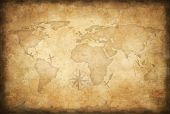 image of pirates  - aged treasure map background - JPG