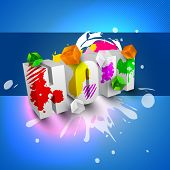 Vector illustration of Indian colorful festival with colors splash on text 3D.