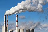image of smog  - white danger smoke from coal power plant chimney - JPG