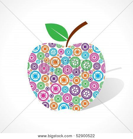 Group of gear make a apple stock vector