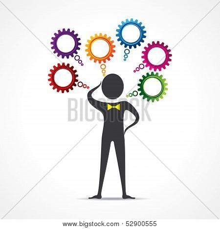 Man gets confused for different things stock vector