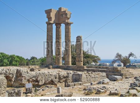 Ruins Of Acropolis In Rhodes