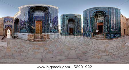 Spherical, 360 degrees panorama (equirectangular projection) of oriental ancient complex of Shah i Zinda. Samarkand, Uzbekistan