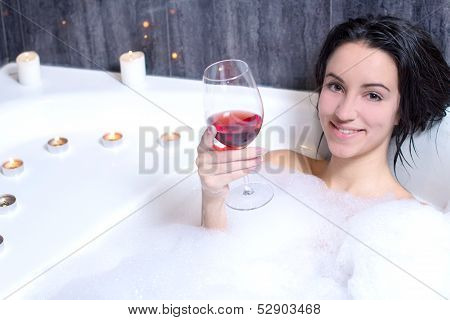 Woman Takes Bath
