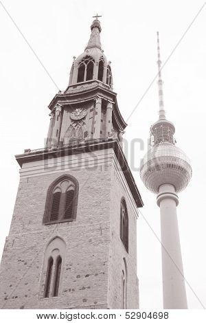 Marienkirche Church And The Fernsehturm Television Tower In Alexanderplatz, Berlin