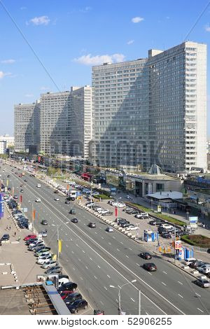 MOSCOW - MAY 10: New Arbat Street at sunny day, on May 10, 2013 in Moscow, Russia. Highway, called the New Arbat, was built in 1963.