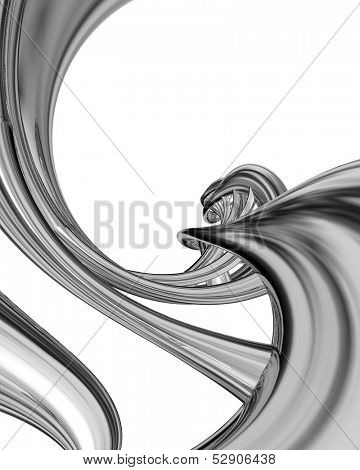 Abstract steel curved isolated on white background.
