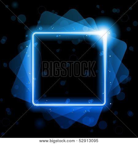 Blue Square linhas Laser Neon de fundo