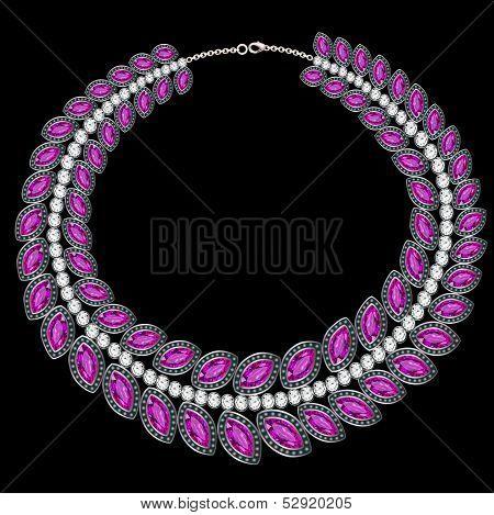 Woman's Necklace Sfioletovymi Precious Stones