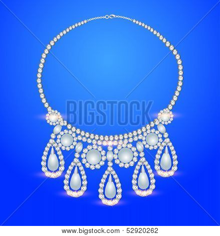 Female Necklace With Pearls On A Blue Background