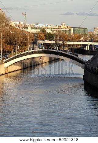 bridge On The River Yauza In Moscow