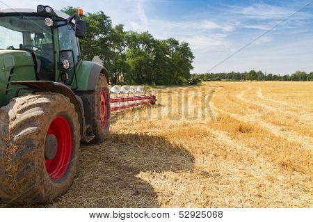 Tractor Ready To Plow Stubble Fields
