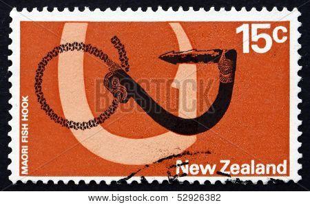Postage Stamp New Zealand 1971 Maori Fishhook, Tool