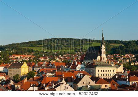View of beautiful Czech city Cesky Krumlov at dusk