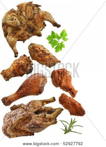 Grilled Chicken,Duck And Turkey Meat Isolated On White