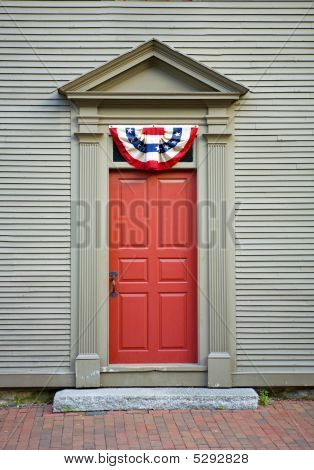 Old Fashioned Door With Independence Swag