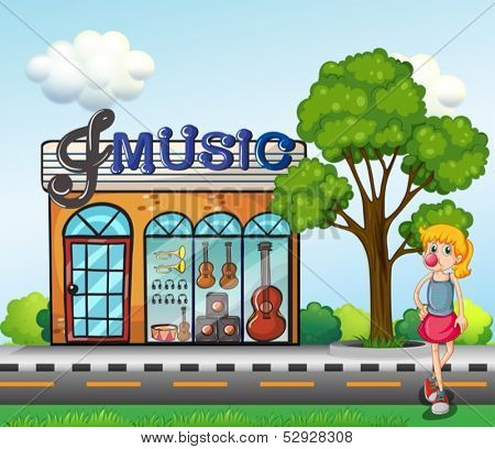 Illustration of a young girl in front of the music store