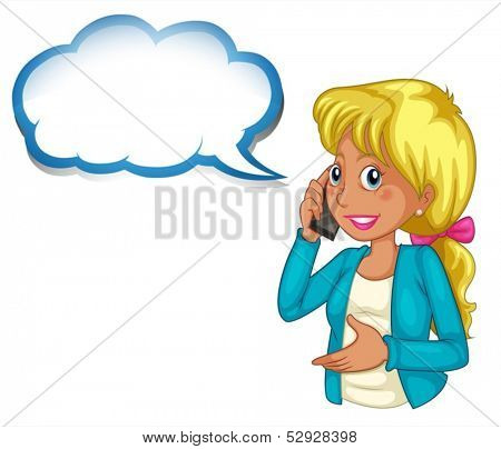 Illustration of a woman using a phone with an empty cloud template on a white background
