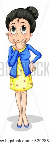 Illustration of a businesswoman thinking on a white background