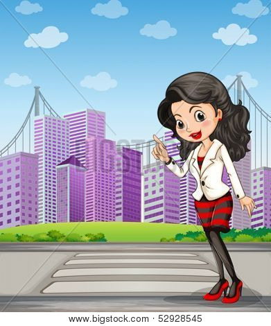 Illustration of a lady with a black stockings standing at the pedestrian lane