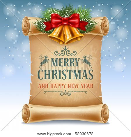 Merry Christmas greeting card with golden jingle bells and old scroll paper