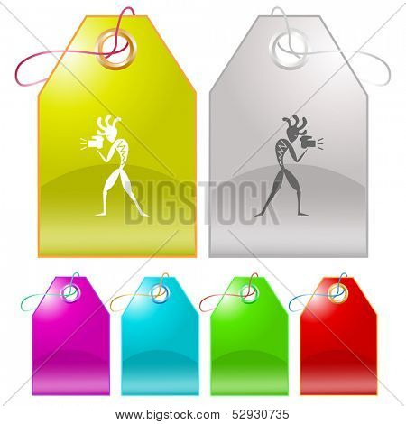Ethnic little man with camera. Vector tags.